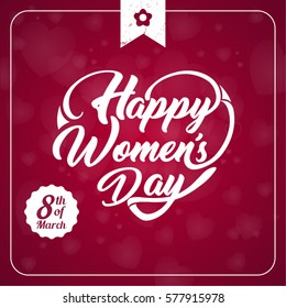 Heart Shaped typographical background. Happy Womens Day.