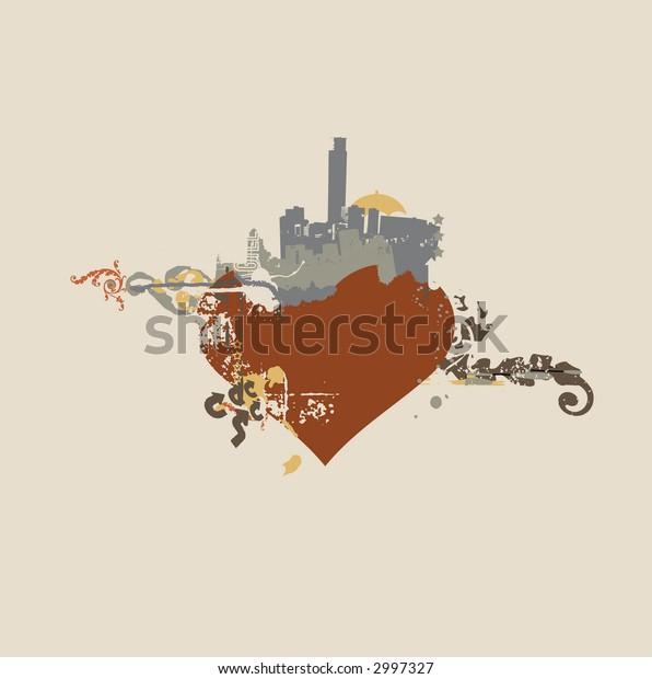 heart shaped urban background. Grunge style. Vector illustration.