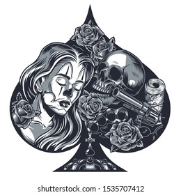 Heart shaped vintage chicano tattoo concept of beautiful girl skull money pack revolver roses and brass knuckles isolated vector illustration