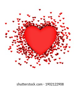 Heart shapes coming from large heart. good template for romantic design like valentines day.