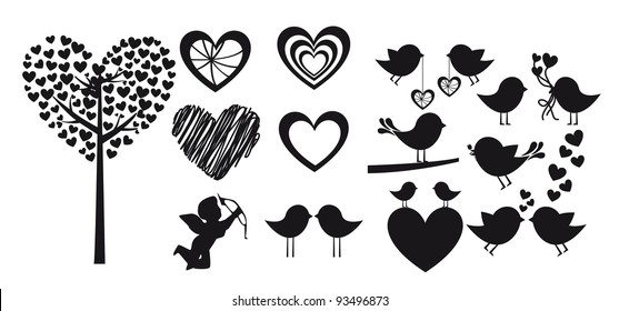 Heart shapes on white background, vector silhouette