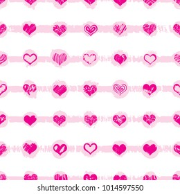 Heart shapes seamless pattern on retro pop up grunge brush endless background for Valentines or Mother's day design. 8 March Women's Day or love, symbols. Vector.