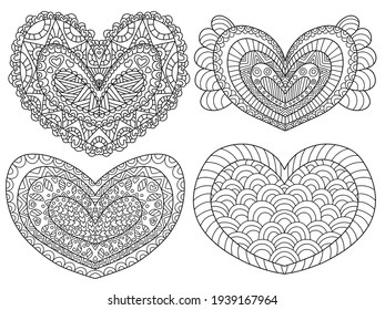 Heart shapes set ornamental zen art stock vector illustration. Four symmetry hand drawn hearts black outline isolated on white. Decorative love symbols line art for printing, coloring and fun