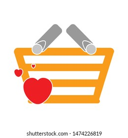 heart shopping basket icon. flat illustration of heart shopping basket vector icon. heart shopping basket sign symbol