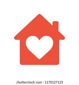 Heart sign in house red icon, love home symbol, vector illustration isolated on white background