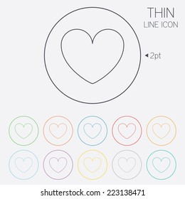 Heart sign icon. Love symbol. Thin line circle web icons with outline. Vector