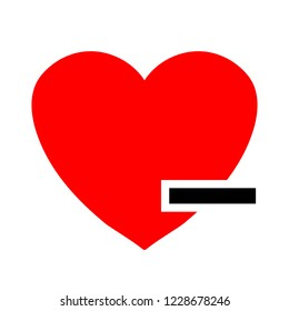 Heart sign icon. Remove lover button
