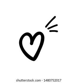 heart sign outline icon logo inspiration, black on white, vector illustration