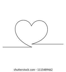 Heart sign painted with a single black line on a white background. One-line drawing. Continuous line. Vector Eps10
