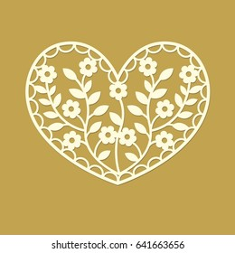 Heart silhouette with flowers and leaves. Laser cut template pattern for decorative panel. Modern design for stencil, wedding favor box, gift box, paper, wood, metal cutting. Vector illustration.