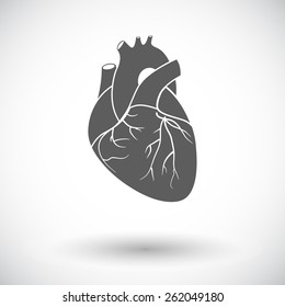 Heart. Single flat icon on white background. Vector illustration.