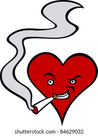 Heart smoking a cigarette