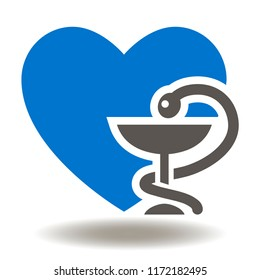 Heart with snake bowl icon vector. Bowl of hygieia pharmacy a medical symbol. Drugstore logo.
