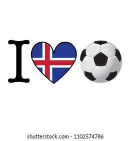 I heart Soccer banner with Iceland flag. Love Football concept