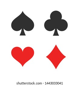 Heart, spade, club and diamond. Playing card suit icon template black color editable. Playing card suit symbol vector sign isolated on white background. Simple logo vector illustration for graphic and