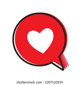 Heart in a speech bubble, vector love message, love icon.