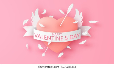 Heart is spread flying wing and Cupid shooting the arrow through the heart. Winged heart and paper ribbon with text Happy Valentine'Day. paper cut and craft style. vector, illustration.