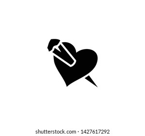 Heart stake vector isolated flat illustration. Heart stake icon