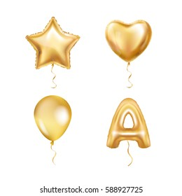 Heart Star Gold Balloons ABC