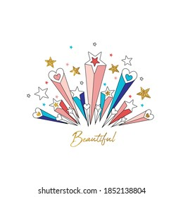 heart star gold glitter colorful text line black and white shine sparkle cosmos girl tee illustration art vector