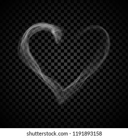 Heart steam smoke isolated on black background. Heart steam smoke for web site,poster,placard,backdrop, wallpaper and card template. Realistic effect. Creative art concept, vector illustration, eps 10