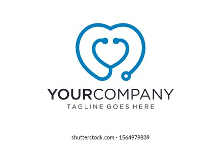 Heart stethoscope logo design concepts