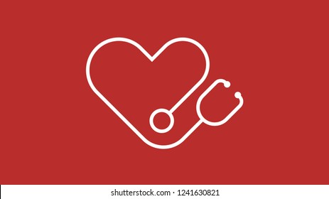 heart stethoscope logo icon vector red background