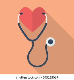 Heart with Stethoscope. Medical concept