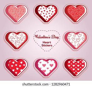 Heart Stickers. Illustrations for valentines and wedding