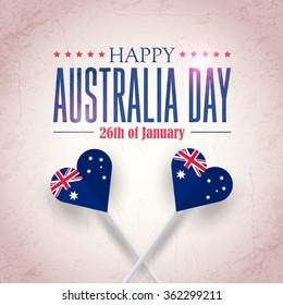 Heart Style Australia Flag, Retro Background of Australia Day, National Celebration Card, Grunge Badges Vector Emblem