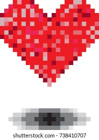 Heart in the style of pixel art