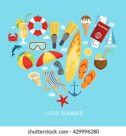 Heart summer composition with icon set composed in the heart and headline I love summer vector illustration