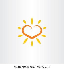 heart sun vector logo icon