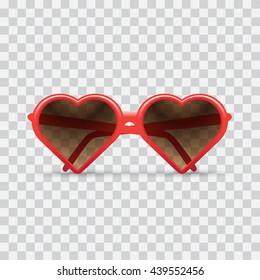 heart sunglasses, light checkered background. Heart sunglasses illustration. - stock vector