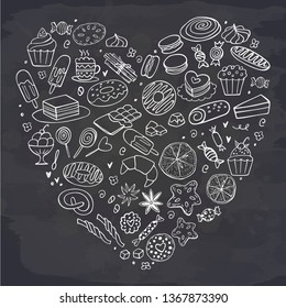 Heart of sweet food on chalkboard. Doodle. Vector illustration. Cakes, biscuits, baking, cookie, pastries, donut, ice cream, macaroons. Perfect for dessert menu or food package design.