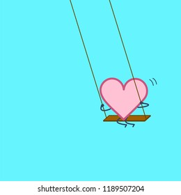 Heart swings on swing. Vector concept illustration of happy relaxed creative heart and love   flat design linear infographic icon on blue background