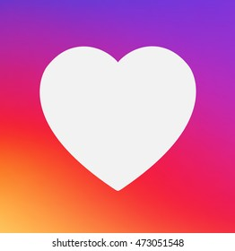 Heart symbol app Icon on smooth color gradient background template. Vector illustration inspried by instagram new logo. Vector illustration for your social media app design project and other.