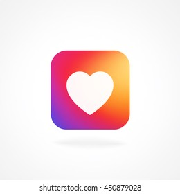 Heart symbol app Icon with smooth color gradient background template. Vector illustration  inspried by instagram new logo. Vector illustration for your social media app design project and other.