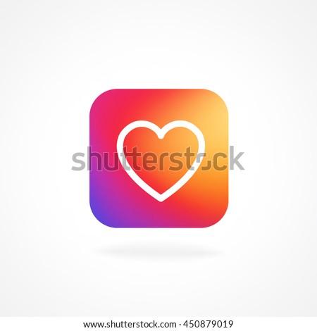 Heart Symbol App Icon Smooth Color Stock Vector Royalty Free