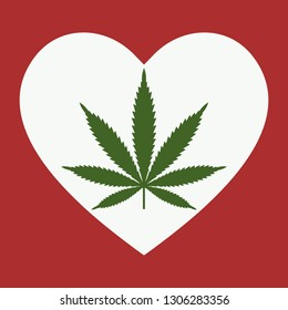 Heart symbol with cannabis leaf inside. Marijuana Heart. Isolated vector illustration