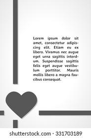 heart symbol dark infographics on gray gradient background
