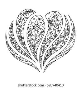 heart symbol hand drawing art line zentangle vector illustration design