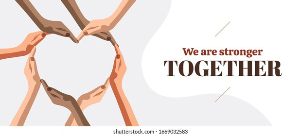 Heart symbol hands of women. We are stronger together. Multicultural girl community of powerful, care, support, awareness, charity, help, feminism. Isolated flat cartoon arms on white background.