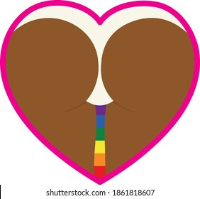 Heart symbol. The human body in the heart. Lgbt flag.