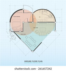 Heart symbol with interior ground floor plan. Element of blueprint drawing in shape of heart.