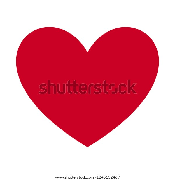 Heart, Symbol of Love and Valentine's Day. Flat Red Icon Isolated on White Background. Vector illustration.