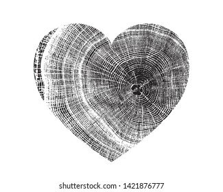 Heart symbol of love with vector wood texture of wavy ring pattern from a slice of tree. Cross section of a mask of a tree isolated on white