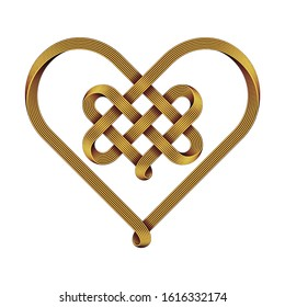 Heart symbol made of intertwined golden wire as a celtic knot. Vector illustration isolated on white background.