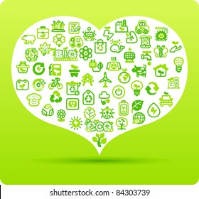 Heart symbol made from small eco,bio,natural icons