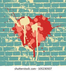 Heart symbol on brick wall, vector.